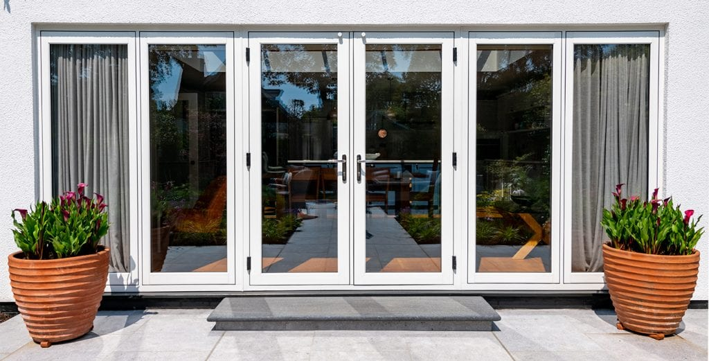 uPVC Flush sash french wood effect patio doors